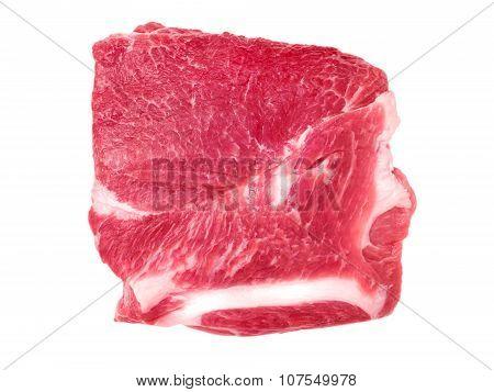 Pork collar butt slice isolated on white poster