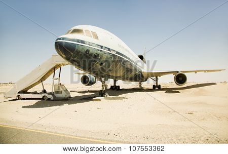 Old, superannuated aircraft in desert