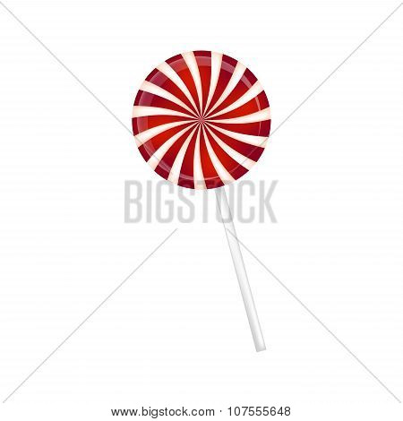 Lollipop Striped In Christmas Colours. Spiral Sweet Candy With Red And White Stripes. Vector Illustr