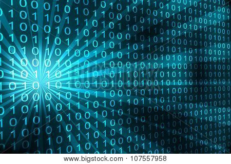 Abstract binary code 3D cyan background.