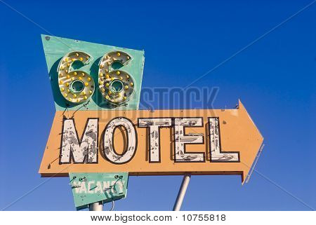 Route 66 Motel Sign From An Abandoned Motel