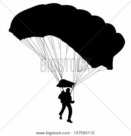 The Skydiver silhouettes parachuting a vector illustration poster