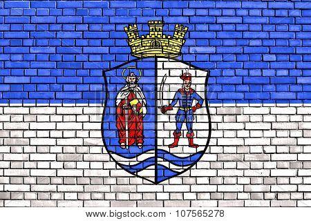 Flag Of Bacs-kiskun County Painted On Brick Wall