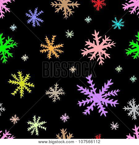 Seamless color snowflakes