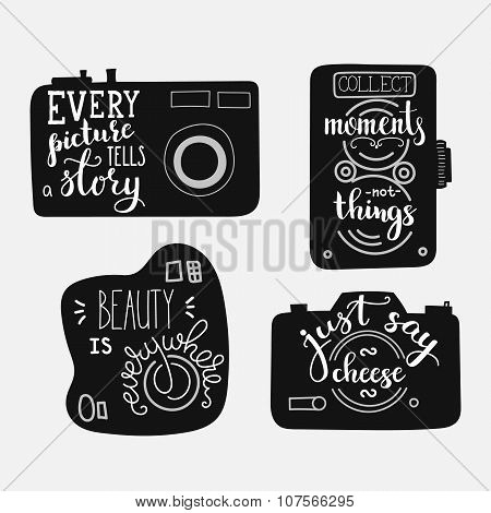 Lettering On Vintage Old Camera Shape Set