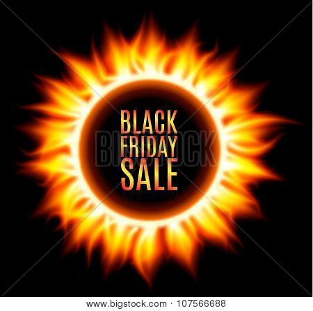 Abstract burning fire circle. Black friday sale.