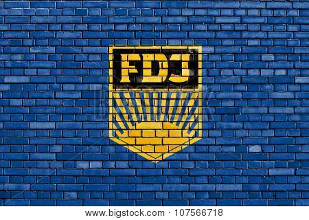 Flag Of Free German Youth Painted On Brick Wall