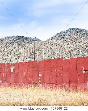 deposit terrain wall. Wall restrainig soil in industrial place poster