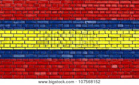 Flag Of Loja Painted On Brick Wall