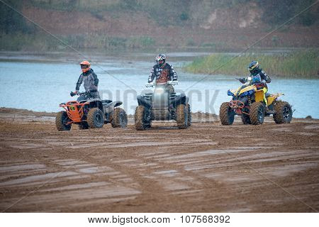 Unidentified Riders At The Track