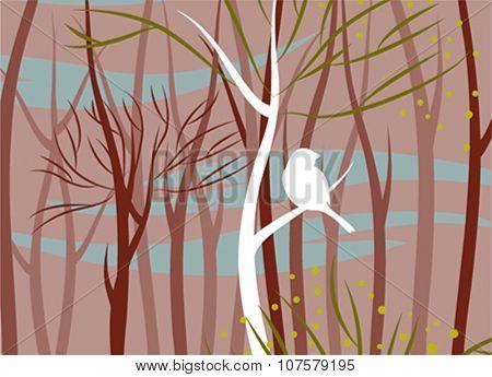 bird in forest, vector illustration