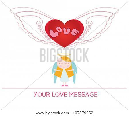 cute cartoon illustration of young angel woman in love, love card.