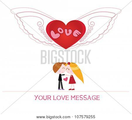 cute cartoon illustration of young woman and man in love, love card.