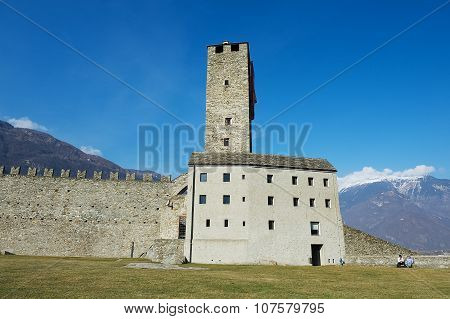 View to the tower of the Castelgrande castle in Bellinzona, Switzerland.