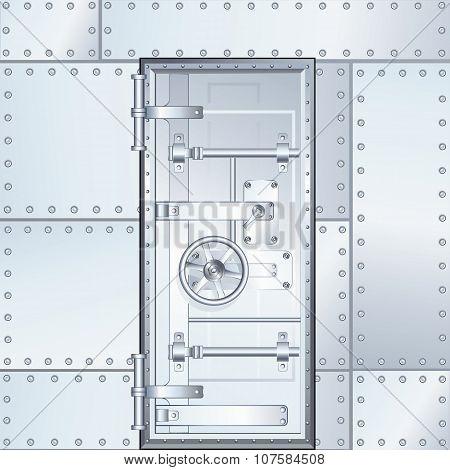 Closed Bank Vault Door. Vector Illustration