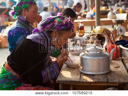 Vietnamese Hmong tribe having meal