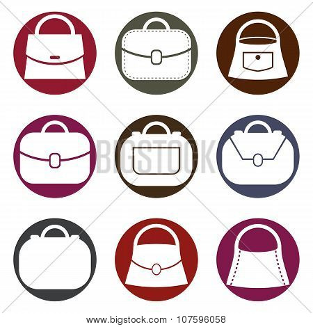 Bag vector icons set, fashion theme symbols collection.