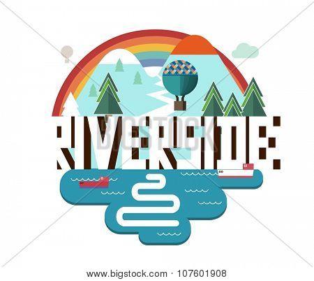 Riverside city travel destination in USA. vector cartoon, poster
