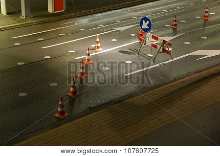 Road construction with detour sign