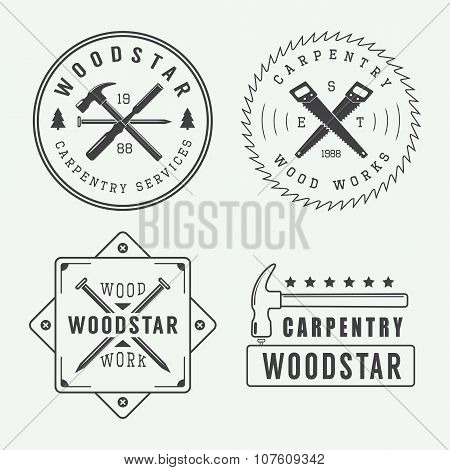 Vintage Carpentry Or Mechanic Logo, Emblem, Badge, Label And Watermark With Saws, Hammers, Chisels