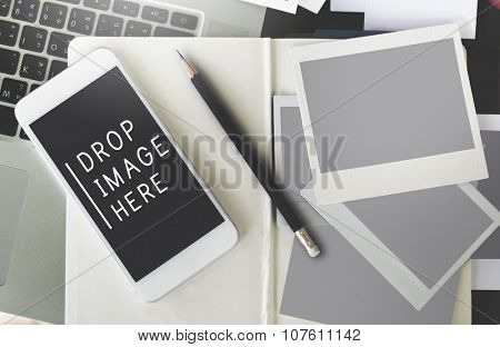Drop Image Here Data Digital Devices Internet Concept