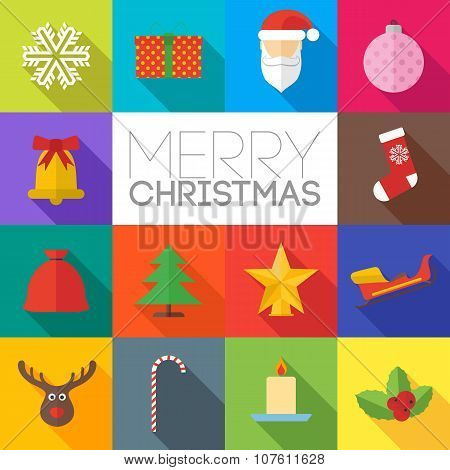 Merry Christmas Flat Icons Set