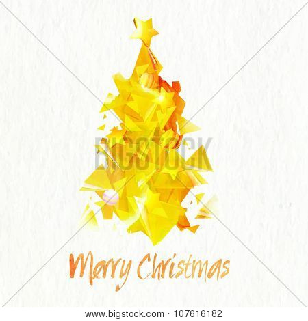 Creative abstract golden Xmas Tree on shiny background for Merry Christmas celebration.