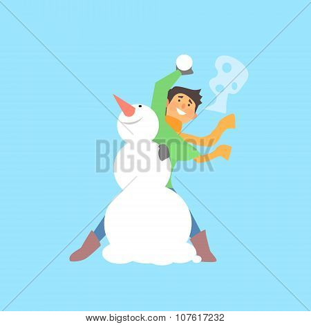 Boy Throwing Snowball and a Snowman. Flat Vector Illustration poster