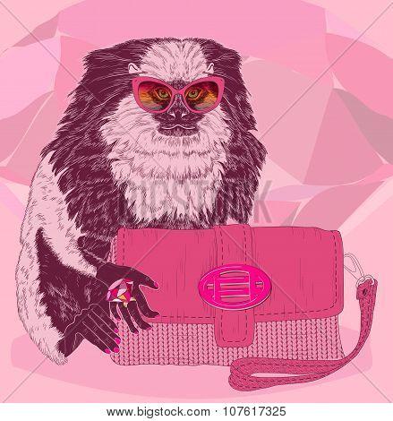 Glamorous Fashion Marmoset With Pink Satchel