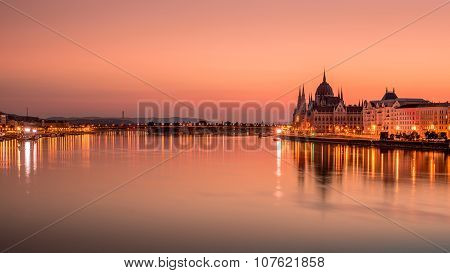 Beautiful Sunrise on Danybe River in Budapest, Hungary