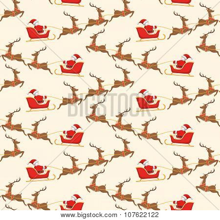 Seamless Christmas Pattern With Santa On Sleigh And His Reindeer