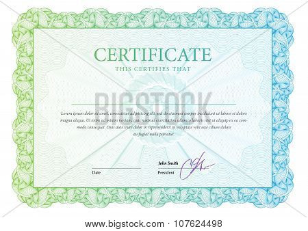 Certificate. Award background. Gift voucher. Template diplomas currency