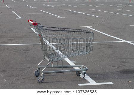 Empty Trolley Cart On Parking