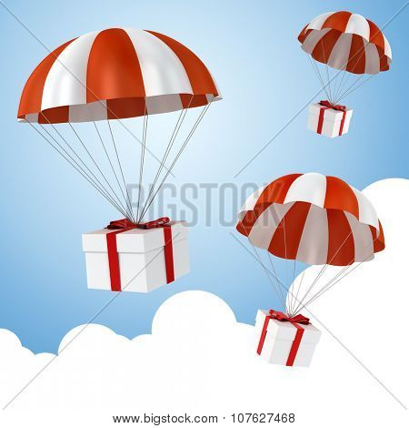 3d colorful parachute and present box poster