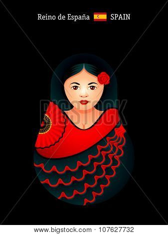 Matryoshkas of the World: spanish girl in flamenco dress. Reino de Espana is the official country name for Spain.