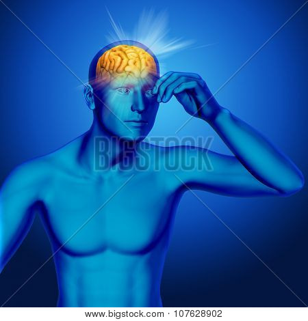 3D male medical figure with rays coming out of brain