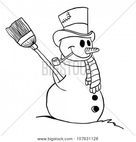 simple black and white snowman cartoon