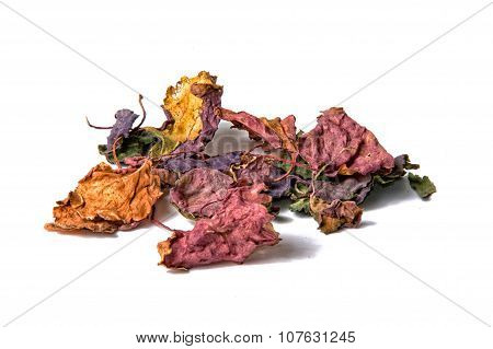 Colorful Dried Patchouli Leaves Over White