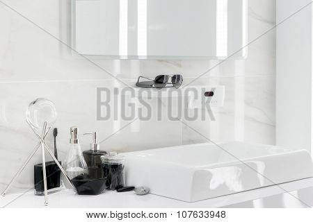 Electronic Washbasin With Decoration In Bathroom