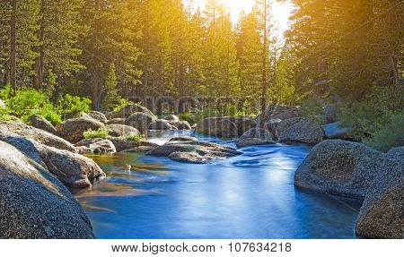 Calm and Beautiful Water Streams of Yosemite National Park. Long Shutter Speed Used.HDR Toning.Horizontal Image Composition poster