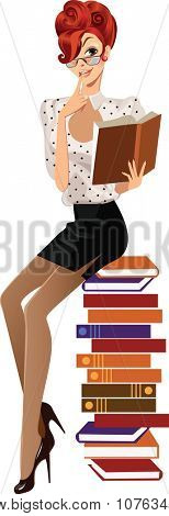 girl with a book sitting on a pile of books