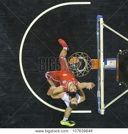 Thessaloniki Greece Oct 17 2015: Some players in action during during the Greek Basket League game Paok vs Kifisia poster