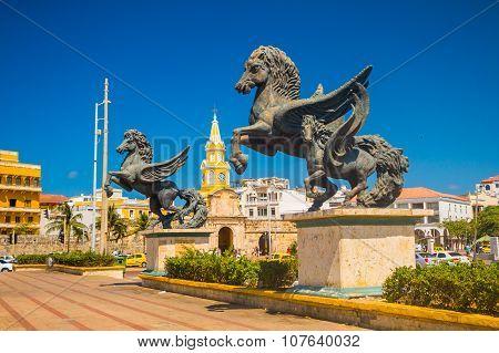 Los Pegasos sculpture in the beautiful streets of Cartagena, Colombia