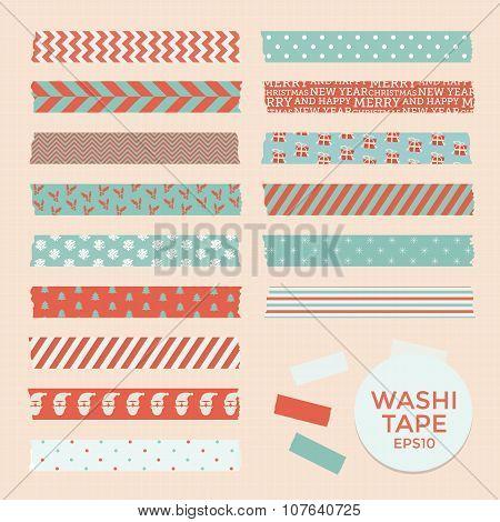 Set of vintage christmas washi tapes, ribbons
