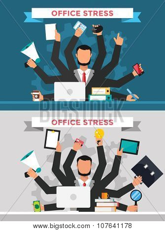 Office job stress work vector illustration. Stress on work. Business man many hands. Office life business man. Business situation. People in action. Computer, table, many hands, work. Office vector