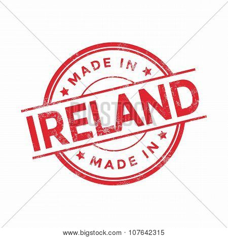Made in Ireland red vector graphic. Round rubber stamp isolated on white background.