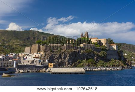 Lipari Island the largest of Aeolian Islands of the Northern coast of Sicily, Italy