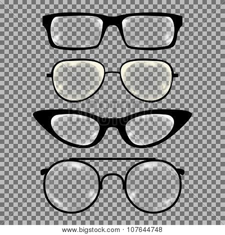 Set of custom glasses isolated