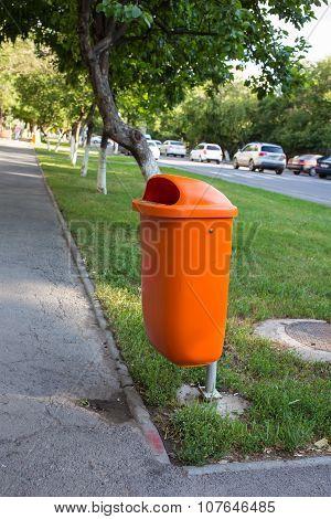 Recycle bin  in the city park in Astsana, Kazakhstan poster