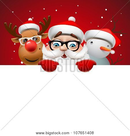 Christmas card with Santa Claus ,deer and snowman